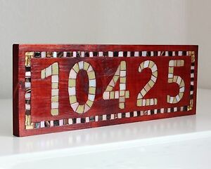 Address Plaque Personalized Wooden House Number Door Sign Mosaic Engraved