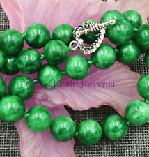 """12mm Natural Green Emerald Jewelry necklace18 """"AAA"""