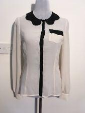 Lipsy Pixie lott Camicia Colletto Di Perline Vedere attraverso maglia a maniche lunghe color crema taglia 8