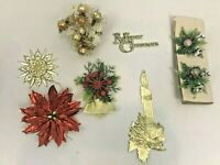 Vintage Christmas Tags Tie On's Decorations Gold Foil Bell Plastic Glitter Lot
