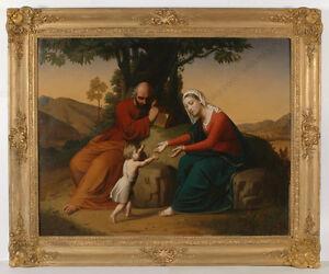"Romain Cazes (Ingre's pupil) ""Holy Family"", monumental oil painting, 1842/43"