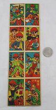 Vintage Japanese Cartoon Masked Bandit Menko Game 8 Card Anime Comic Uncut Sheet
