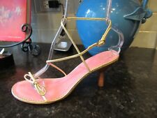 LILY PULITZER Gold Strappy Sandles Heels Ladies 9.5M Pink