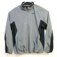 Nike Quarter Zip Pullover Windbreaker Grey and Black Jacket Mens Sz M