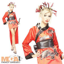 Japanese Geisha Ruby Red Dragon National Fancy Dress Costume Ladies Outfit 8-12