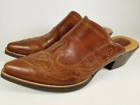 ARIAT Western Pointy Toe Mules Brown Leather Slip On Shoes Women's Size 8 US ATS