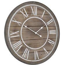 Libra Hemsby Bleach Wooden Geometric Wall Clock Roman Numerals Grey 80cm