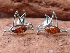 BIRD COGNAC BALTIC AMBER 925 STERLING SILVER EARRINGS SILVERANDSOUL JEWELLERY