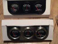 Triple Gauge Set Black Or Chrome Hot Rod Kit Car In Uk No Charges