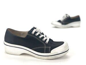 Dansko Canvas Vegan Lace-Up Black Clogs Occupational Shoes Women's 9.5 EUR 40