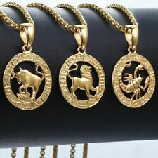 Hot Sale 12 Horoscope Zodiac Sign Pendant Necklace Women's Gold Summer Jewelry
