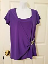 Women's Size X-Large Purple Top Draped Faux Wrap Silver Buckle  JASON MAXWELL