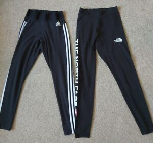 THE NORTH FACE & ADIDAS black high waist 3 stripe Leggings size suit 15-16 years