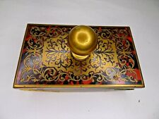 19th Antique Gilded / Brass Mahogany Enamel Writing Blotter Brass Paper Weight