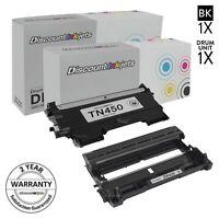 2pk DR420 TN450 Black Printer Toner Cartridge & Drum for Brother MFC-7360N