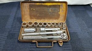 """Hilka Vintage 15 Piece Socket Set 1/2"""" Square Drive in Metal Case"""