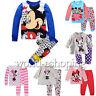 2PCS Toddler Boys Girls Cartoon Mickey Minnie Sleepwear Nightwear Pyjamas Suit