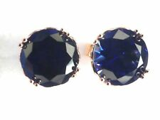 Sapphire Earrings: 14K Rose gold Created Sapphire Stud Earrings Christmas gift