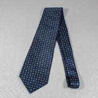 Pierre Cardin Blue Square Print Silk Necktie Geometric Neck Tie