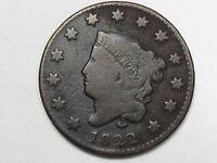 1822 US Coronet Head Large Cent.  #6