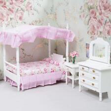 1:12 Dollhouse Miniature Bedroom Furniture Canopy Bed Dresser 3PCS
