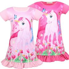 Childrens Girls Rainbow Unicorn Nightgown Dress Zg9 Can be a cute cosplay Custom