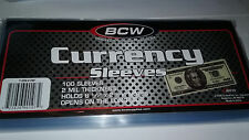 100 BCW CURRENCY SLEEVES, 2 MIL THICK, ACID FREE, 6 1/8 LONG GOOD FOR FRACTIONAL