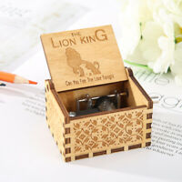 Retro Carved Lion King Music Box Hand Crank Wooden Musical Birthday Gift Decor