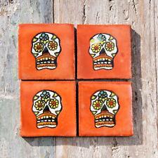 4 Ceramic Mexican Tiles SUGAR SKULL TERRACOTTA  SIZE 5 x 5 cms