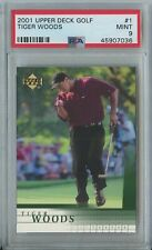 Tiger Woods 2001 UD upper deck golf #1 RC rookie mint PSA 9