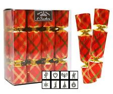 8 Mini Christmas Crackers Xmas Tartan Gift Pendant Jewellery Hat Red Gold