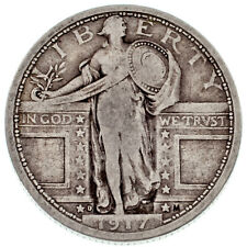 1917-D 25C Standing Liberty Quarter in Fine Condition, Natural Color