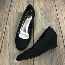Avenue Faith Black Suede Wedges rounded toe slip on Women's Size 11 W