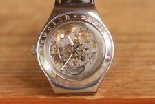 Vtg Swatch Mechanical Irony Man Watch 21 Jewel Automatic Swiss Steel Skeleton