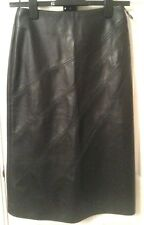 MORGAN Black Faux LEATHER A-Line SKIRT FR38uk12us8 Waist w26ins w66cms Len 27ins