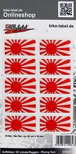 Aufkleber 3D Länder-Flaggen Rising Sun 10 Stck. je 40 x 20 mm - 300647