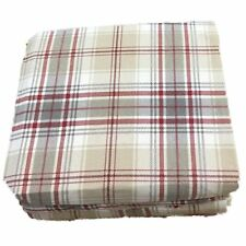 Cuddle Duds Tan & Red Plaid Flannel Sheet Set Full Bed Sheets Bedding