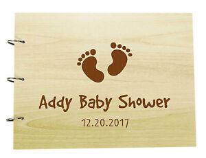 Custom Baby Shower Guestbook Wood Engraved Foot Print Photo Album-Rfm