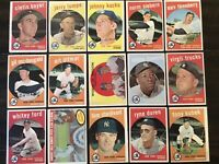 ⚾️1959 Topps Baseball New York Yankees Lot Of 15 Mickey Mantle Whitey Ford⚾️