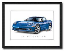C6 CORVETTE BLUE POSTER ART PRINT POSTER 11X14 FRAMED