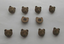 Nut Brown Teddy Face Novelty Buttons x 10