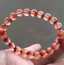 8.5mm Rare Natural Red Rabbit hair Quartz Crystal Round Beads Bracelet AAAA