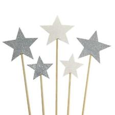 Party Habits Silver Star Cake Toppers, Set of 5