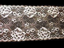1 Meter elastische Spitze Tüll Spitzenborte Wäschespitze 12.5cm creme Elfenbein