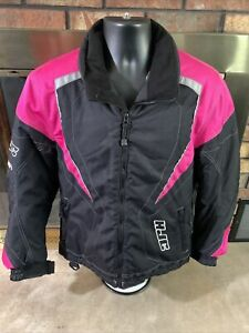 HJC Snowmobile Racing Team Jacket Black Pink Womens Size 8 Sled Winter EUC