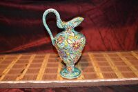 Vintage Turquoise Multi- Floral Vase Pitcher #274 W/ Gold Accent Signed 10 5/8""