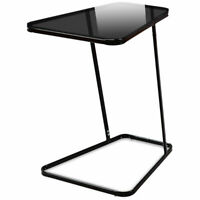 End Table Accent Side Snack Coffee Sofa Table Modern C Shape Glass Steel