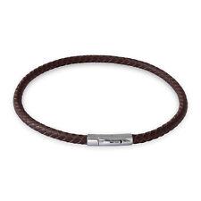 Lederkette Braun Halskette Armband geflochten mit Verschluss Damen Herren (18-70