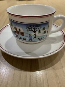 Villeroy & and Boch Design Naif Christmas Cup And Saucer Unmarked