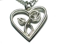 Charles Rennie Mackintosh pewter Heart.pendant on chain, BOXED